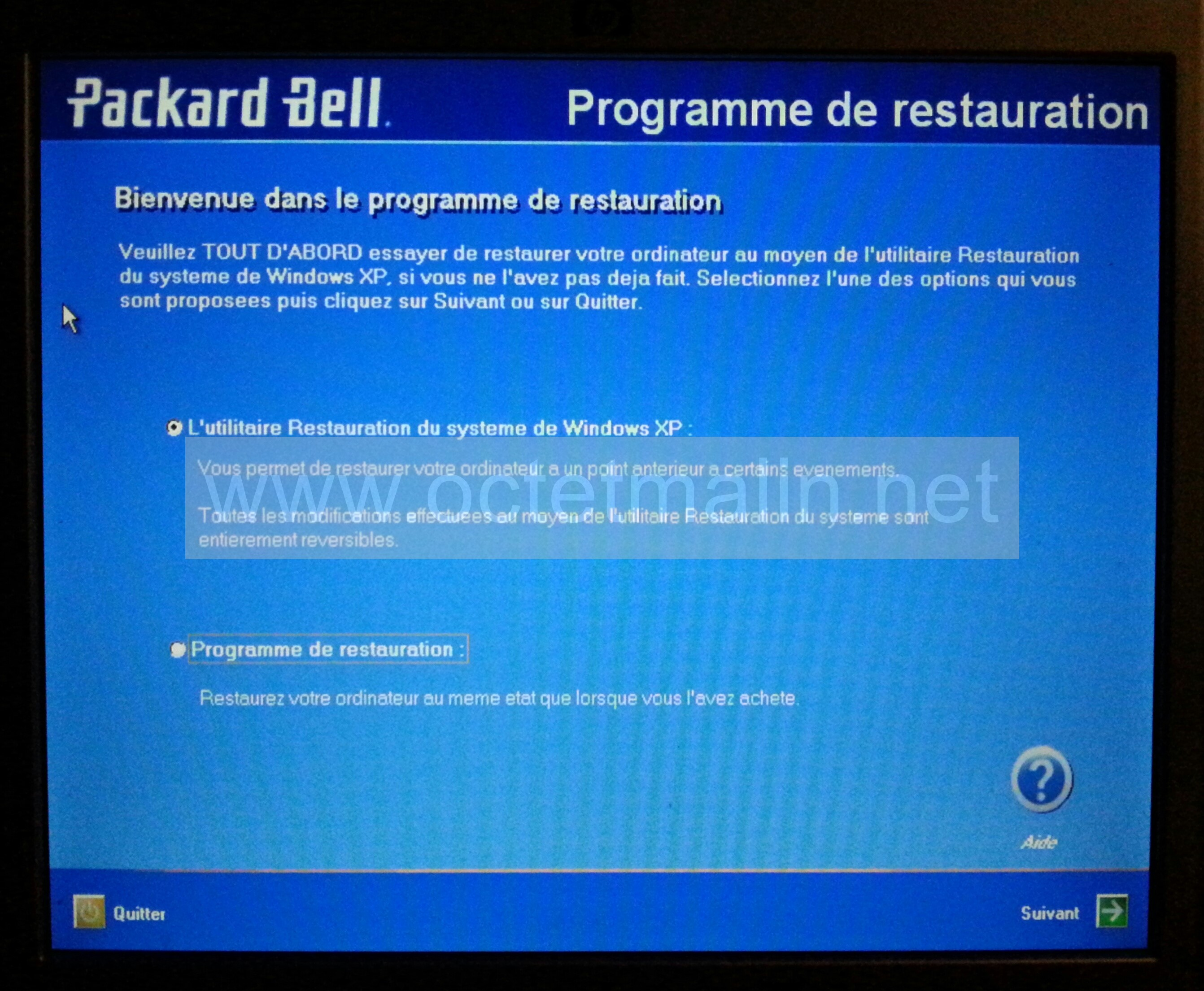 Packard bell restaurer le syst me l 39 tat d 39 usine for Configurer ecran pc