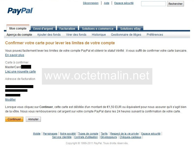 "Paypal - Tutoriel ""Lier et confirmer carte bancaire"" - www.octetmalin.net"